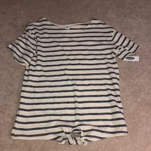 Navy Striped Tee with Knot at the bottom